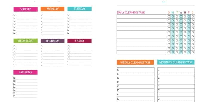 printable weekly cleaning lists