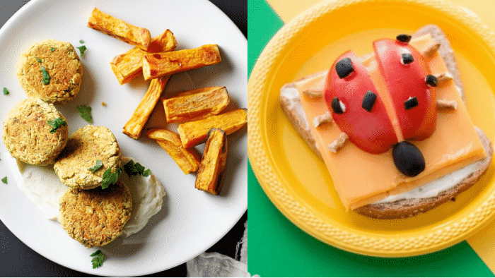 Easy toddler lunches like baked chickpea patties and a ladybug open faced sandwich are sure to be a hit.