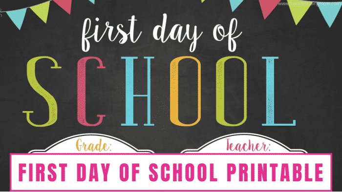 Use this first day of school template free printable to commemorate your kiddo's big day