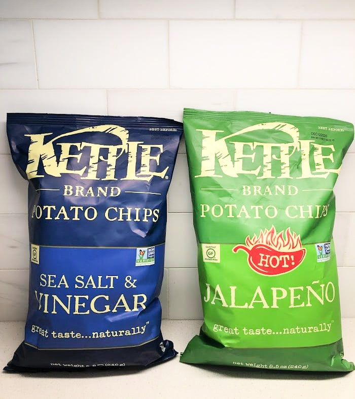 two bags of Kettle Brand Chips