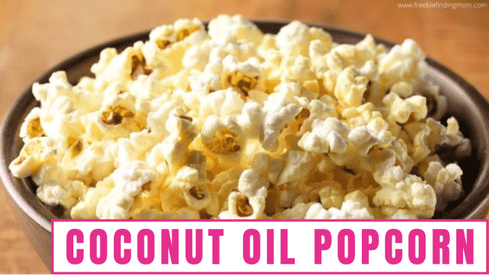 Low calorie popcorn like this coconut oil popcorn makes a satisfying and healthy snack for the whole family.