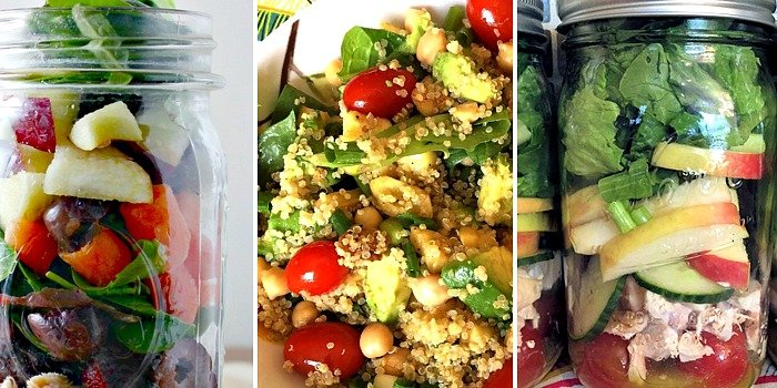 Mason jar meals, like these salads make great cold lunch ideas for work or home