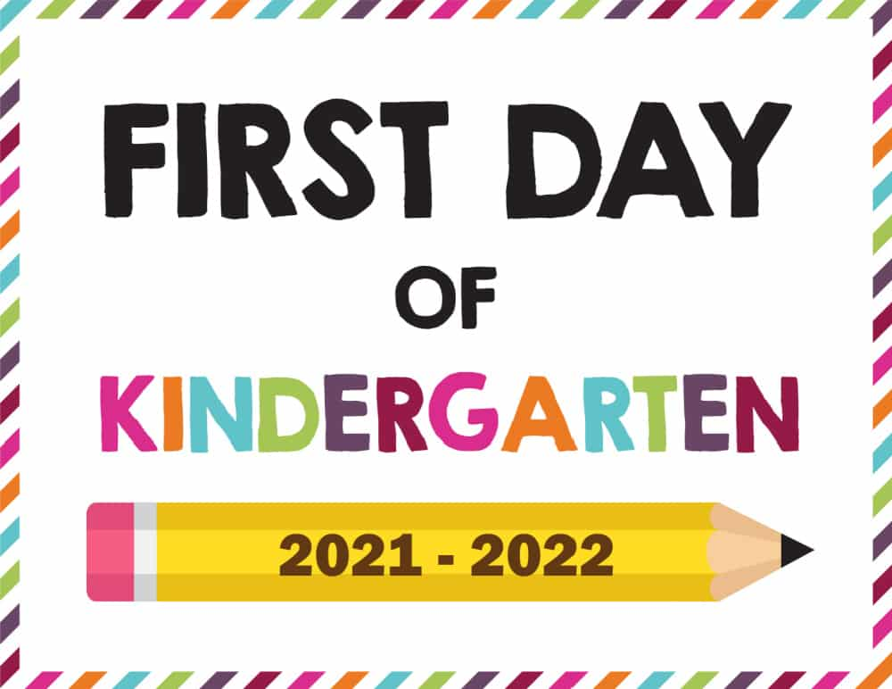 Have a little one starting kindergarten or maybe your kid is older? Either way you can download this bright and happy first day of school sign printable 2021-2022 and have them hold it while you take their picture to commemorate the start of a new school year.