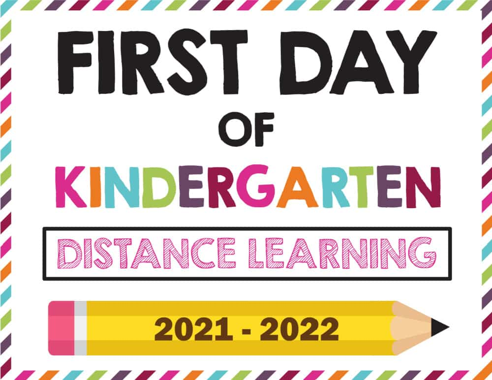 Are your kids not in-person for school? It doesn't mean you shouldn't still celebrate this important milestone with a photo of them holding this first day of school sign printable 2021-2022 distance learning version.