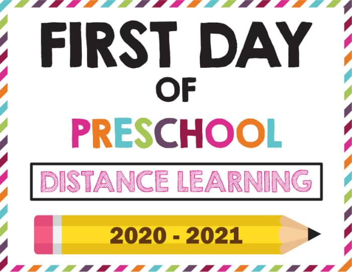Unusual times call for unusual first day of school sign ideas; try this option if your kiddo is distance learning this year