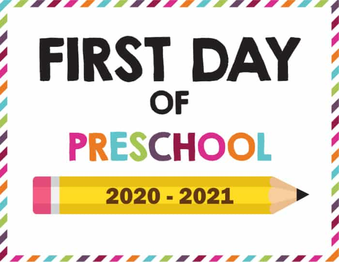 Another first day of school sign printable option for your new tradition; this is available for preschool through 12th grade
