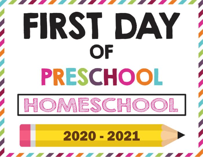 Just because you're homeschooling doesn't mean you have to miss out on any fun; try this first day of school sign printable