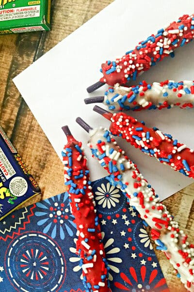 patriotic food firecracker pretzels
