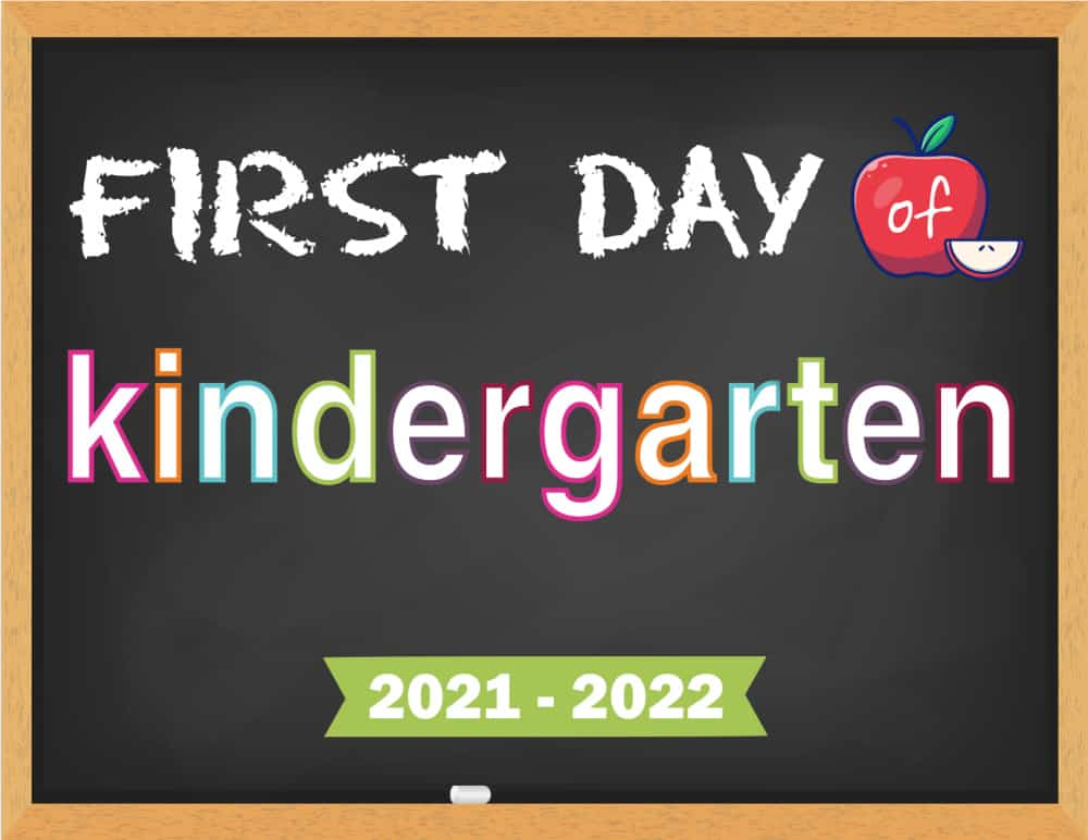 Want a traditional back to school sign? This printable first day of school chalkboard sign 2021-2022 fits the bill.
