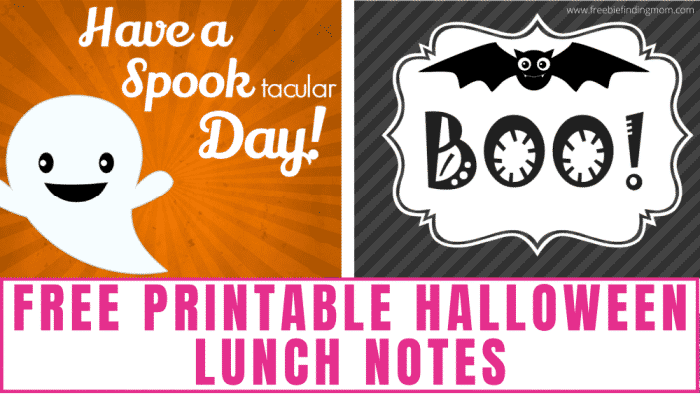 These 6 free printable Halloween lunch notes are a fun and frugal way to get in the Halloween spirit