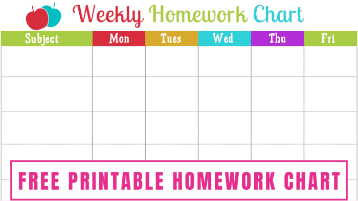 Use this free homework chart printable to make sure your kiddos stay on track with their school work