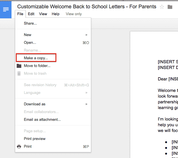 Step 2 of 5 in this customizable welcome back to school template