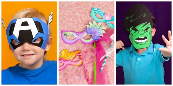 Free printable masks for kids include Disney options like their favorite superheroes