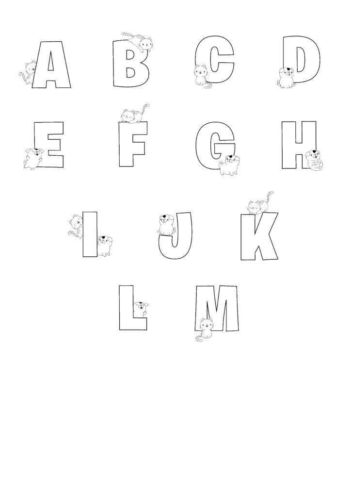 Printable Bubble Letters Cat and Dog Bubble Letter Alphabet