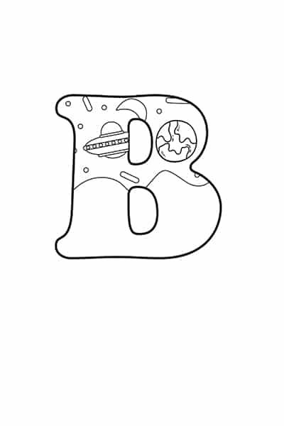 Printable Bubble Letters Space Letter B