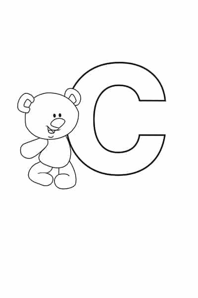 Printable Bubble Letters Teddy Bear Letter C