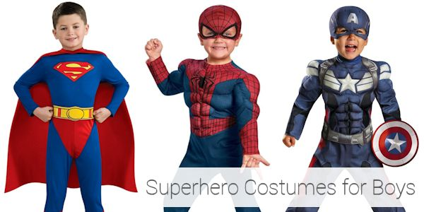 Supeman, Spiderman, and the Avengers are fun superhero Halloween costumes for boys