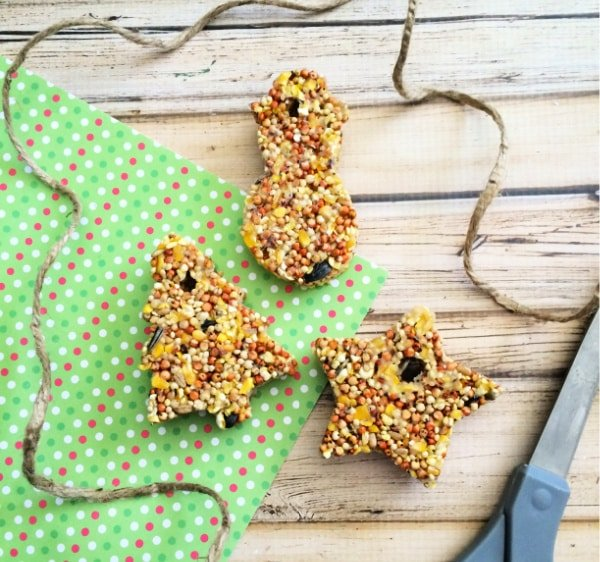 Cut a piece of twine or string for each cookie cutter bird feeder; this is how you'll hang them