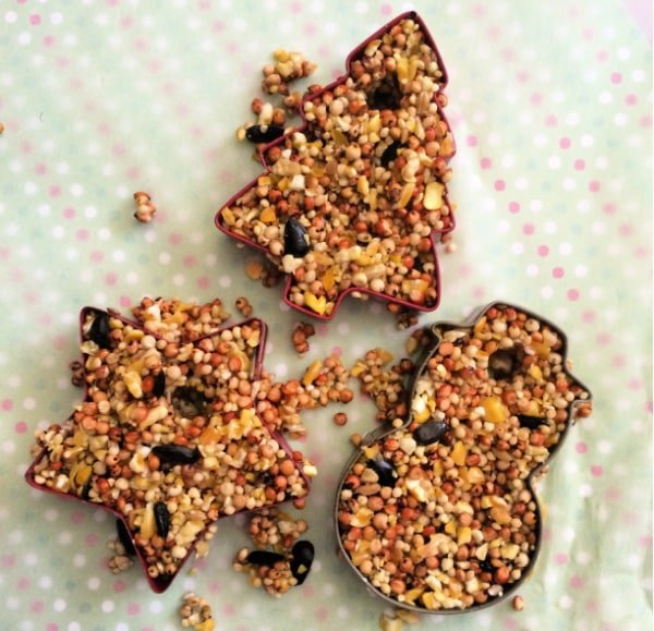 What would a cookie cutter bird feeder be without cookie cutters; break them out and scoop in your seed mixture