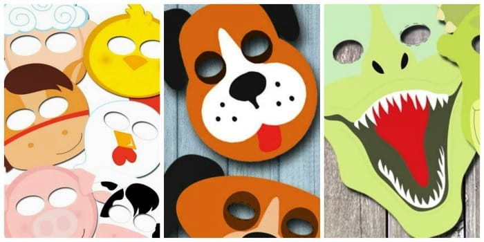 These animal themed masks include free printable masks to colour, which makes for a great cold or rainy day activity