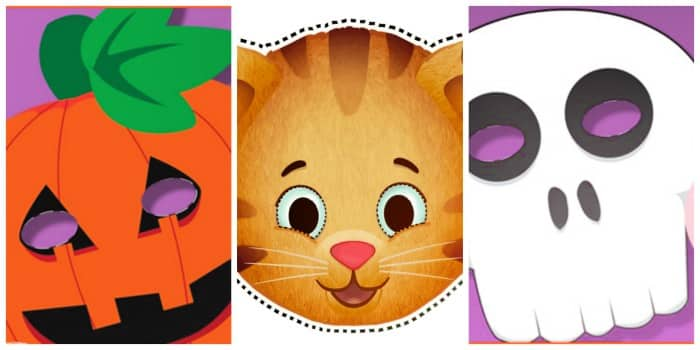 The kids can play pretend for hours with these free printable face masks for kids. Download either the pumpkin mask, Daniel Tiger mask, ghost mask, or another cute mask.