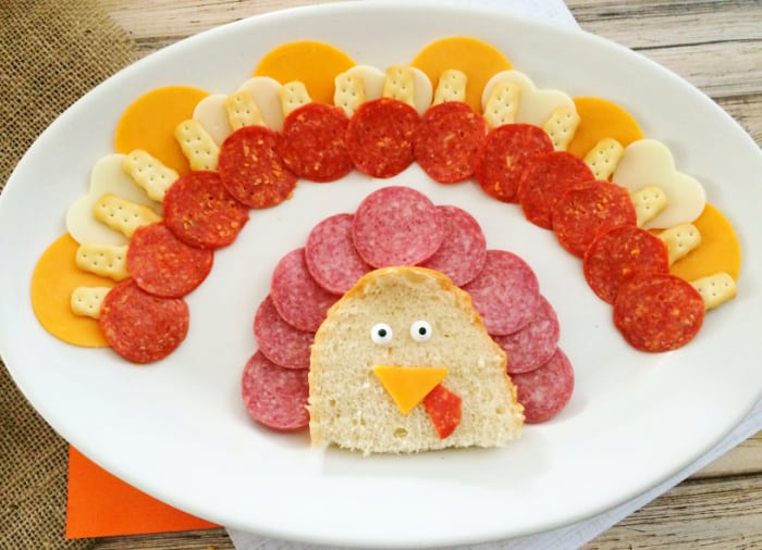 Rotate meats, cheeses, and crackers as you fill out this turkey cheese tray appetizer
