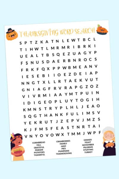 free Thanksgiving word search printable