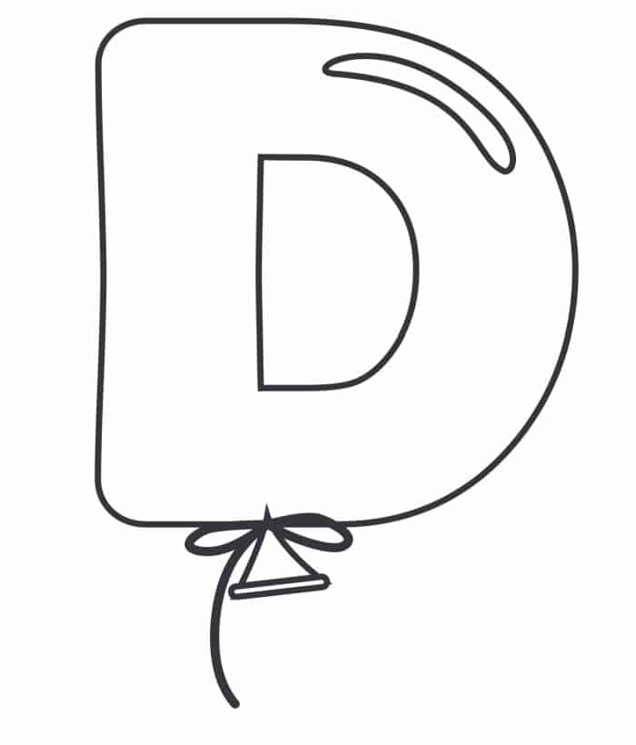 Printable Bubble Letters Balloon Letter D