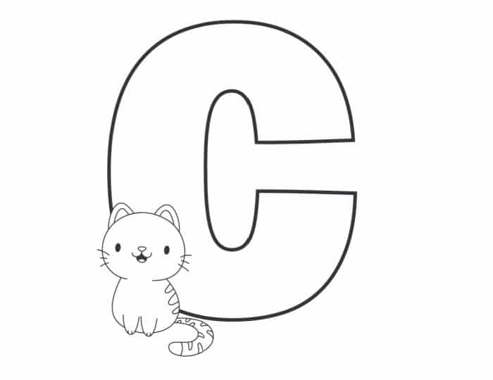 Printable Bubble Letters Cat and Dog Letter C