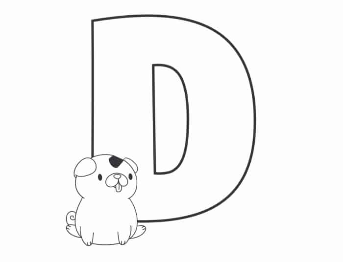Printable Bubble Letters Cat and Dog Letter D