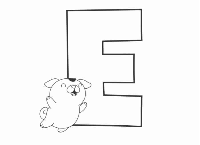 Printable Bubble Letters Cat and Dog Letter E