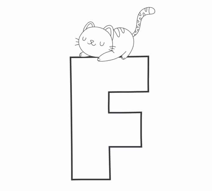 Printable Bubble Letters Cat and Dog Letter F