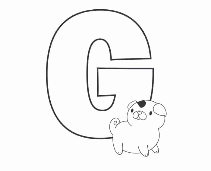 Printable Bubble Letters Cat and Dog Letter G