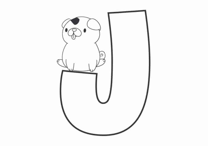 Printable Bubble Letters Cat and Dog Letter J