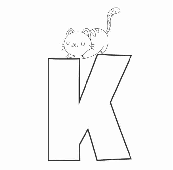 Printable Bubble Letters Cat and Dog Letter K
