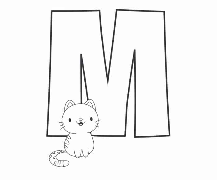 Printable Bubble Letters Cat and Dog Letter M