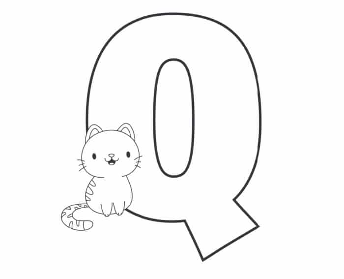 Printable Bubble Letters Cat and Dog Letter Q