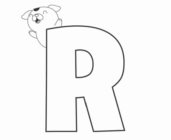Printable Bubble Letters Cat and Dog Letter R