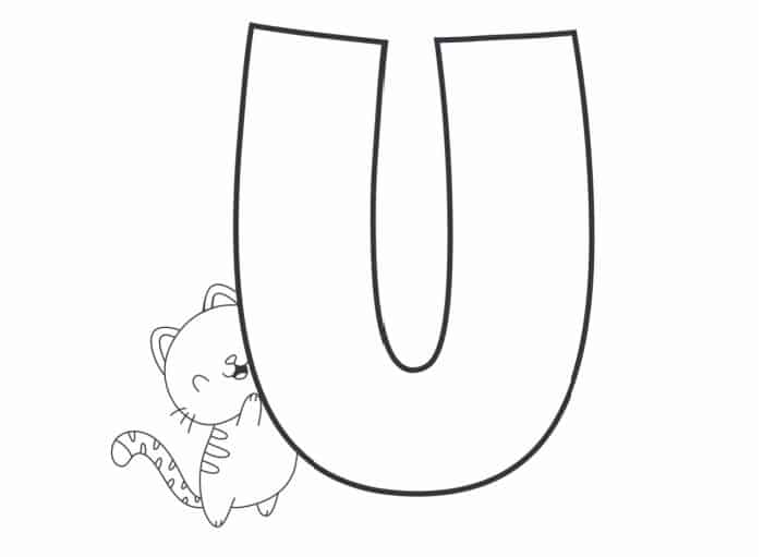 Printable Bubble Letters Cat and Dog Letter U