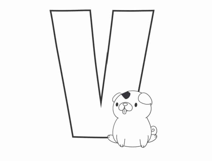 Printable Bubble Letters Cat and Dog Letter V