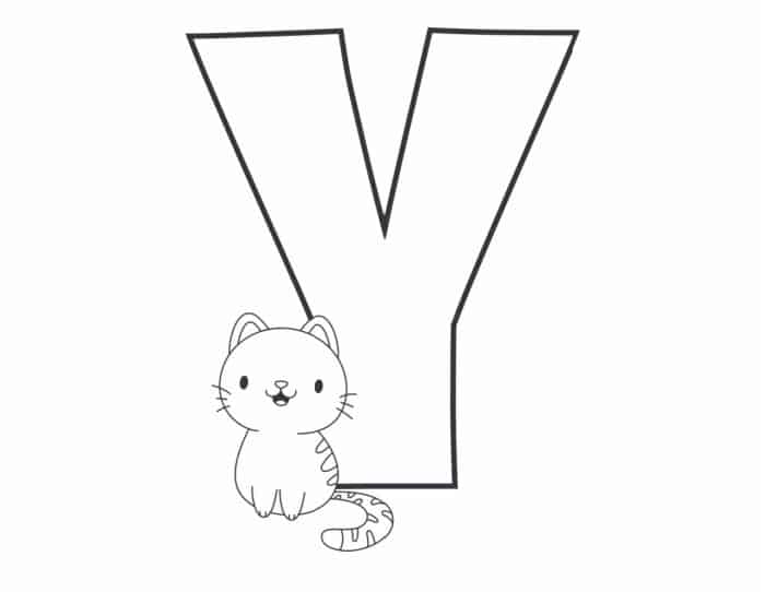 Printable Bubble Letters Cat and Dog Letter Y