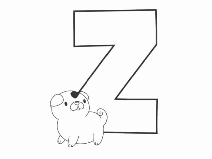 Printable Bubble Letters Cat and Dog Letter Z