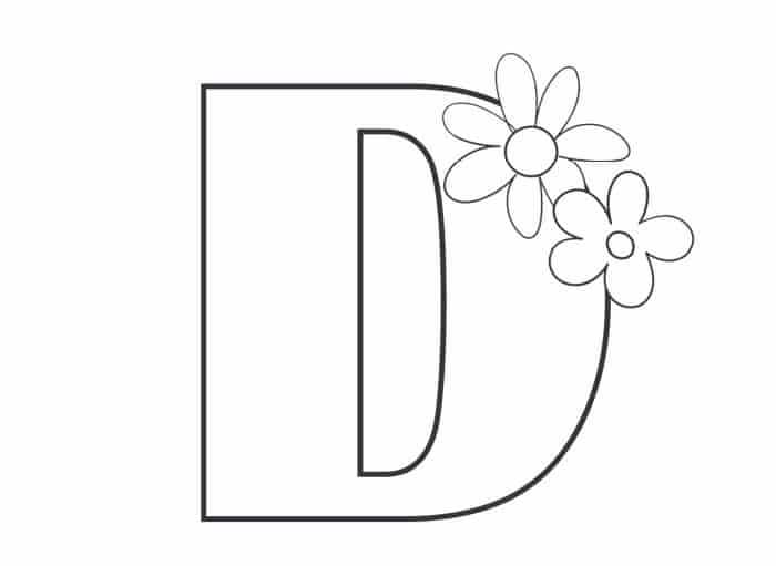 Printable Bubble Letters Flower Letter D