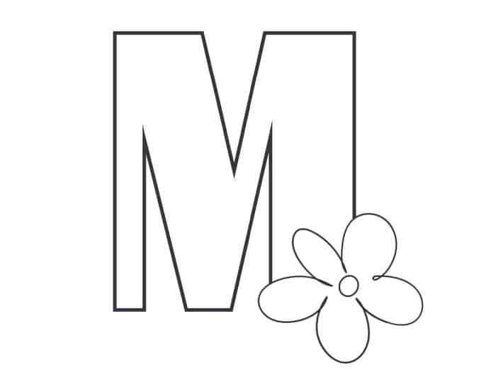 Printable Bubble Letters Flower Letter M