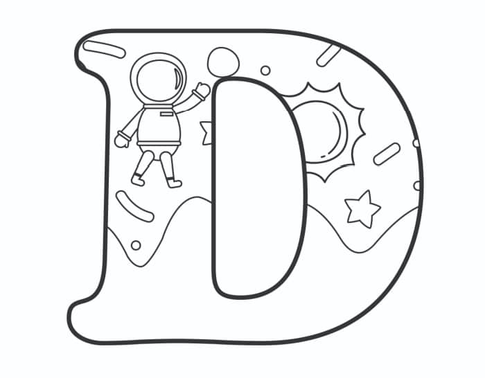 Printable Bubble Letters Outer Space Letter D