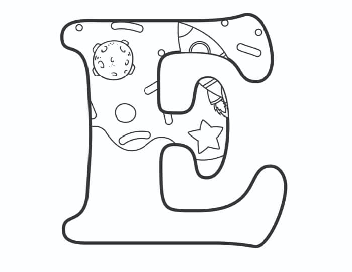 Printable Bubble Letters Outer Space Letter E