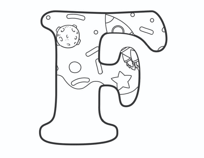 Printable Bubble Letters Outer Space Letter F