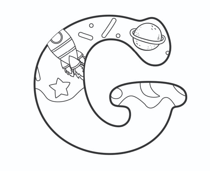 Printable Bubble Letters Outer Space Letter G