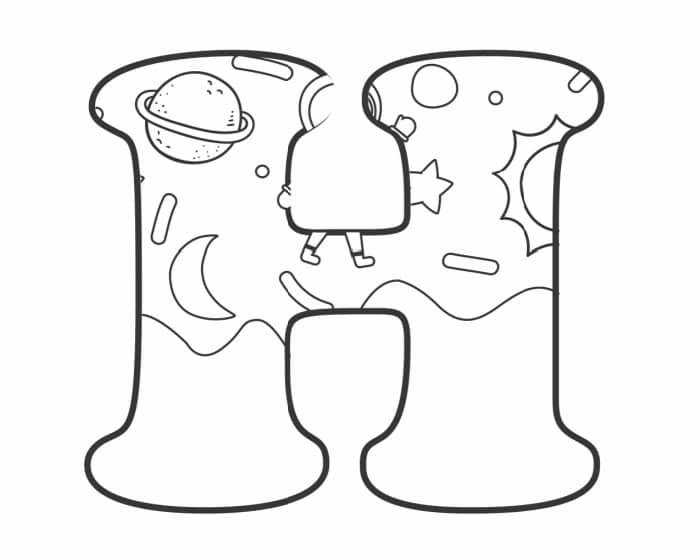 Printable Bubble Letters Outer Space Letter H