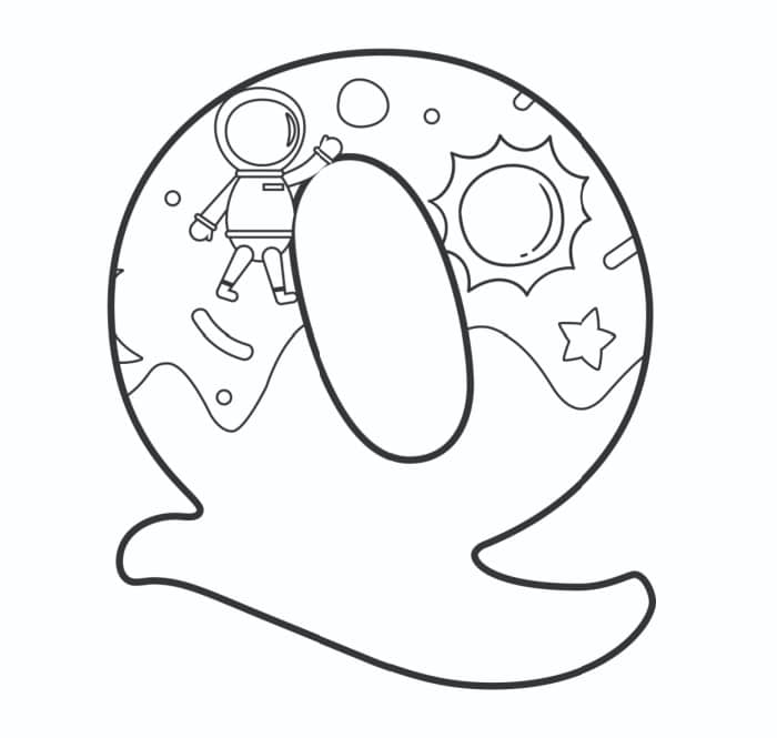 Printable Bubble Letters Outer Space Letter Q